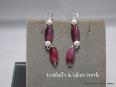 Sterling Silver with Glass Football and Glass Pearl Beads