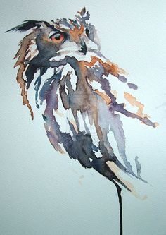 Eagle Owl by sarahstokes on DeviantArt Owl Watercolor, Watercolor Animals, Watercolour Painting, Painting & Drawing, Watercolors, Owl Art, Bird Art, Vogel Illustration, Photo D Art