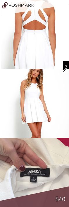 white LULU'S dress white, worn for about 3 hours total, used for homecoming, my profile picture is me wearing it, GREAT condition!!!👍🏼 lulus Dresses Midi