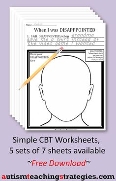 This set of 7 worksheets employs a simple, CBT format to help kids deal with losing and disappointment Cbt Worksheets, Counseling Worksheets, Therapy Worksheets, Counseling Activities, School Counseling, Play Therapy Activities, Group Activities, Coping Skills, Social Skills