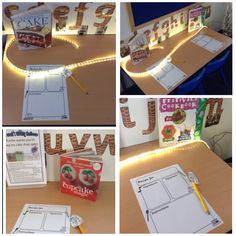 Nursery writing area. Interactive display is used as a stimuli on ...