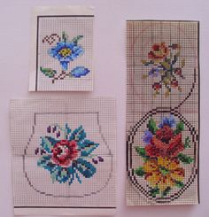 A little collection of patterns recharted from an old hand painted chart. Mini bellpull, Victorian purse, and a floral picture to stitch and