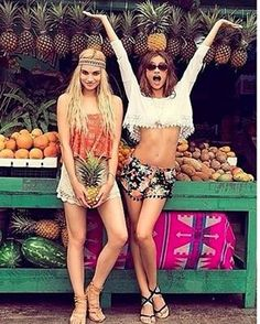 Love the white crop and harem shorts as well as the fruit stall