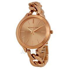 42aaa0b41f2 Michael Kors Slim Runway Twist Rose Dial Ladies Watch MK3223