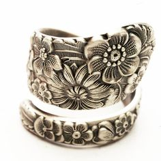 Antique Stieff Floral Sterling Silver Spoon Ring