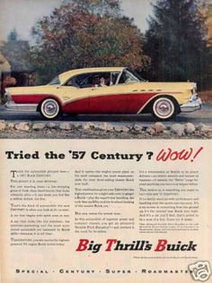 Vintage Buick Century Ad 1957 Wall Art or Car by DustyDiggerLise Old Advertisements, Retro Advertising, Buick Cars, Buick Century, Pretty Cars, Car Posters, Us Cars, Old Ads, Vintage Ads