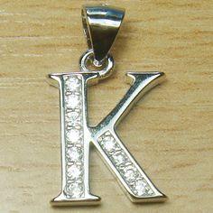 Micro Setting Brilliant Cut White CZ 925 Sterling Silver Initial Letter K Pendant Letter K, Initial Letters, Initial Pendant, Initials, Jokes, Sterling Silver, Shopping, Husky Jokes, Animal Jokes