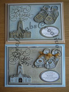Handmade matching Christening cards for Twin Boys made using Tattered Lace Boy Bootie, Tattered lace Church, Tattered Lace Best Wishes and sentiment dies, multi-cut and paper pieced and nesting plain ovals dies.
