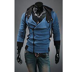 Hombres sudadera con capucha color de contraste suéter manga larga – USD $ 34.79 CRL