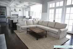 Details on the Pottery Barn Comfort Roll Arm Sectional! (Sunny Side Up) Living Room Sectional, Rugs In Living Room, Living Room Designs, Living Room Decor, Family Room Decorating, Family Room Design, Family Rooms, Decorating Ideas, Decor Ideas