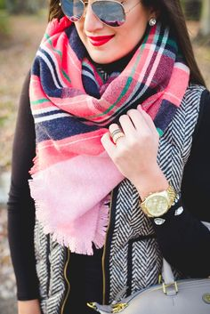 herringbone vest, puffer vest, quilted vest, plaid blanket scarf, pink blanket scarf, herringbone puffer vest, green duck boots, sperry boots, l.l. bean boots, winter style, fall style and fashion // grace wainwright from a southern drawl