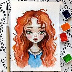 I love her red curls so much!💖 This baby can be found in my Etsy Link. Disney Drawings, Cute Drawings, Drawing Sketches, Arte Disney, Disney Art, Watercolor Drawing, Watercolor Paintings, Red Curls, Drawing Journal