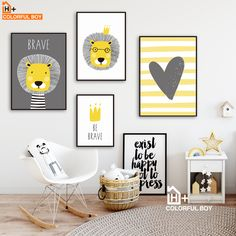 Lion Crown Heart Quote Wall Art Canvas Painting Nordic Posters And Prints Animals Wall Pictures - Smart Decoration Ideas Baby Room Art, Kids Room Wall Art, Baby Art, Baby Boy Rooms, Baby Room Decor, Nursery Wall Art, Kids Rooms, Baby Wall Art, Kids Bedroom