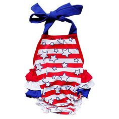 7a2e06cfcd02 Stars and Stripes Red White   Blue Ruffle of July Patriotic Halter Style Bubble  Romper