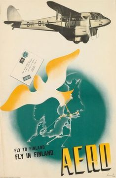 Jorma Suhonen / Fly to Finland/Aero, 1938 Ronald Searle, Toledo Museum Of Art, Salama, Finland, Vintage Posters, Graphic Design, The Originals, Artist, Prints