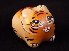 #Selenite #figurine #Little #Tiger #hand #painted on #natural #stone Toys/Hobbies #Gidget