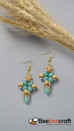 #Beebeecraft idea on #earrings making with #wood beads and #seed beads