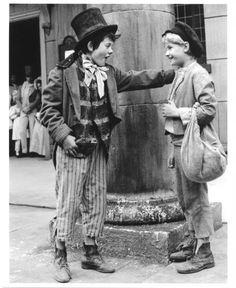 """Jack Wild (Dodger) Mark Lester (Oliver), """"Oliver!"""" 1968."""