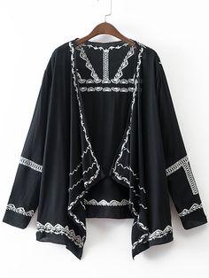 Shop Black Long Sleeve Embroidery Cardigan Kimono online. SheIn offers Black Long Sleeve Embroidery Cardigan Kimono & more to fit your fashionable needs.