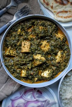 """Vegan palak """"paneer"""" with tofu and all of the Indian spices we love including garam masala. Goes perfectly with a side of naan, roti, or white rice. If you're looking for a dish that will bring more veggies to your life and pack of flavor - this dinner dish is it! #plantbased"""