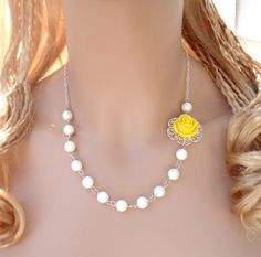 Elegant Bridal/Bridesmaid Jewelry Set-  Yellow Resin Rose Floral Pearl Necklace and Earring set - Wedding Jewelry, Bridal Jewelry