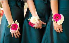 pink gerbera wrist corsages