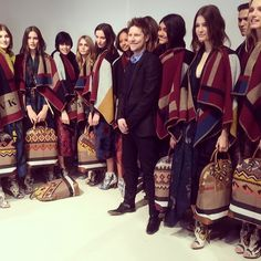 Christopher Bailey joins the #Burberry models backstage after the A/W14 show #LFW