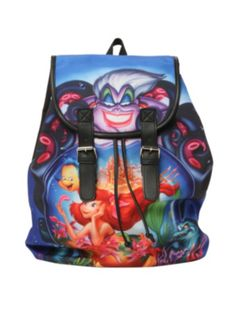 671b9f77d89 Disney The Little Mermaid Poster Slouch Backpack Hot Topic Disney