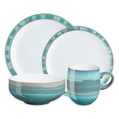 Denby Azure Coast 4 Piece Dinnerware Set Turquoise - With cool aquamarine hues, this dinnerware will make you feel as if you're enjoying your meal at a beach house. The subtle wave pattern sets this stoneware apart from the rest. Casual Dinnerware, Dinnerware Sets, Plastic Dinnerware, Tabletop, Denby Pottery, Dish Sets, Dinner Sets, Stoneware Clay, Cereal Bowls