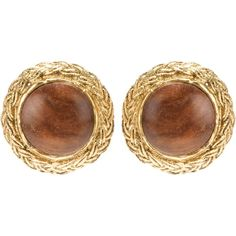 Chanel Vintage wooden centre clip on earrings ($520) ❤ liked on Polyvore featuring jewelry, earrings, accessories, brincos, chanel, metallic, brown earrings, brown jewelry, clip earrings and clip back earrings