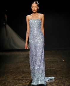 Lazaro Bridal Collection 2014 | Stunning Strapless Ice Blue Sequined & Beaded Column/Sheath Bridal Gown With Court Length Train××××