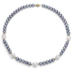 14k Yellow Gold 10105mm White and 775mm Dyedgrey Freshwater Cultured Pearl Necklace 18 * You can find more details by visiting the affiliate link Amazon.com.