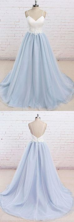 Simple Spaghetti Straps Light Blue A line Long Evening Prom Dresses Long Prom Dress Prom Dress Simple Prom Dress Light Blue Prom Dress Blue Evening Dresses Prom Dresses 2019 Baby Blue Prom Dresses, Straps Prom Dresses, Cute Prom Dresses, Tulle Prom Dress, Dance Dresses, Ball Dresses, Pretty Dresses, Ball Gowns, Formal Dresses