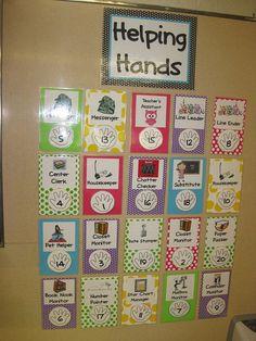Classroom Jobs- like the hand prints