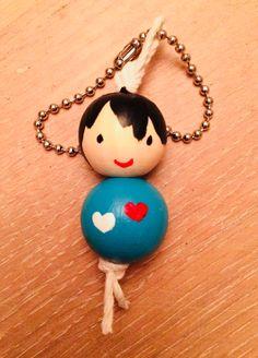 sleutelhanger, kralenpoppetje - key chain, bead doll