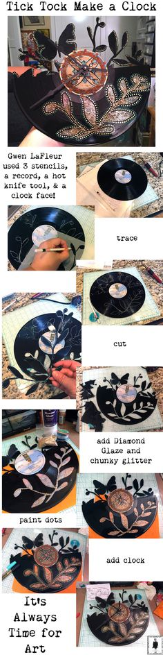 To make this clock you'll need:  a vinyl record  clock kit  Walnut Hollow Creative Versa-Tool w/ hot knife tip glass mat (the hot knife will ruin a self-healing one)  Sprout Friends stencils by Flora Bowley Nature's Promises stencil by Roxanne Evan's Stout Ornamental Petals Screen stencil by Gwen LaFleur Stabilo All pencil  (it will write on the vinyl, then it will wipe off with water when you're done)