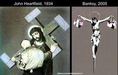 Banksy e Heartfield Street Art Banksy, Graffiti, Bansky, Human Condition, Urban Art, Opera, Berlin, Blood, Patches