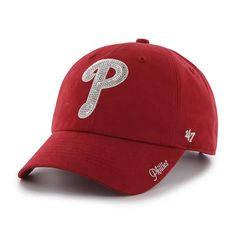 low cost e2538 3200d Philadelphia Phillies Women s 47 Brand Sparkle Red Clean Up Hat