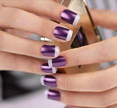 45 Pretty French Nails Designs 2016 Previous Post Next Post French Nails, Purple French Manicure, Purple Nail Art, Purple Nail Designs, French Manicure Designs, Nail Art Designs, French Manicures, Nails Design, Purple Wedding Nails