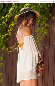 ON SALE Open Back loose tunic with braids hand by LeMoutonBleuShop, €60.00