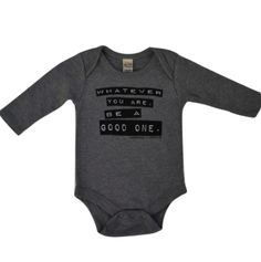 Be A Good One - Abe Lincoln Long Sleeve Baby Onesie in Heather Grey