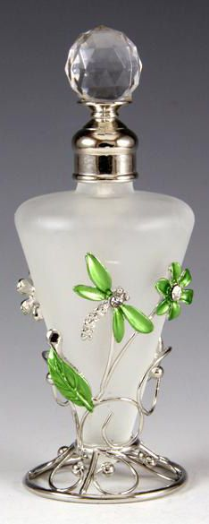 Green Dragonfly Floral Glass Perfume Bottle/Make wire wrapped dragonflies and flowers instead.