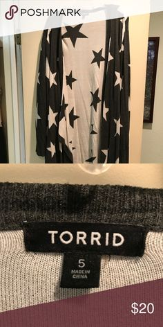 Star print Drape front cardigan My favorite sweater, star print, long, Drape front. Torrid Sweaters Cardigans