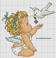 Baby Cross Stitch Patterns, Cross Stitch Fabric, Cross Stitch Baby, Cross Stitch Designs, Cross Stitching, Cross Stitch Embroidery, Cross Stitch Angels, Cross Stitch Cards, Crochet Cross