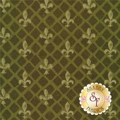 """From Paris With Love 86355-777 Fleur De Lis Green by Lisa Audit for Wilmington Prints: From Paris With Love is a collection by Lisa Audit for Wilmington Prints. This fabric features tonal green Fleur De Lis' tossed on a lattice green background.Width: 43""""/44""""Material: 100% CottonSwatch Size: 6"""" x 6"""""""