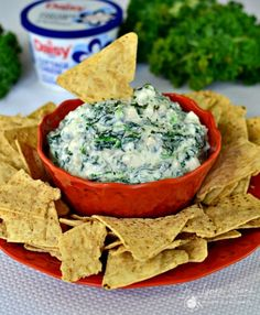 Spinach Dip made with Cottage Cheese: This is a healthy dip option to serve with your favorite dipping chips! Less than 10 ingredients. Jo Lynne Shane