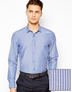 #Рубашка #ASOS Из хлопковой смеси. Широкие полосы. Рубашечный воротник и застежка на пуговицы. Классический крой.