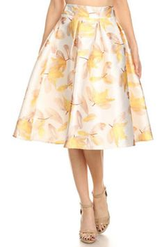 Soft Yellow Floral Skirt.