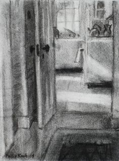 "Philip Koch, ""Truro Studio Kitchen Doorway"", vine charcoal, 12 x 9"", 2014. I made this drawing standing in the painting room of Edward Hopper's Cape Cod painting studio looking into his small kitchen."