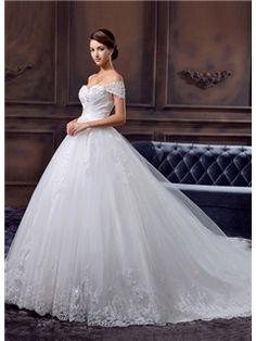 GLamorous A-Line Floor-Length Appliques Sweetheart Chapel Train Wedding Dress